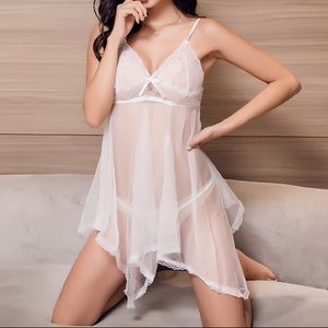 White lace sexy irregular dress lingerie